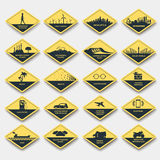 Set of signs of attention, caution and danger Royalty Free Stock Photos