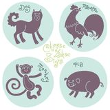 Set signs of the Chinese zodiac. Stock Photo
