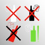 A set of signs with electronic cigarettes prohibition of soaring and a place for smoking Royalty Free Stock Photo