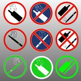 A set of signs with electronic cigarettes prohibition of soaring and a place for smoking Royalty Free Stock Images