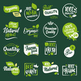 Set of signs and elements for organic food and drink, restaurant, food store, natural products, farm fresh food,  e-commerce Stock Images