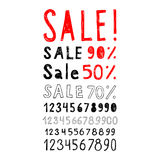 Set of signs and labels Sale and set of numbers. Royalty Free Stock Images
