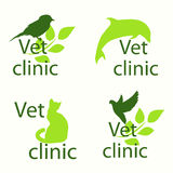 Set signs or labels for veterinary clinics caring for the animal Stock Images
