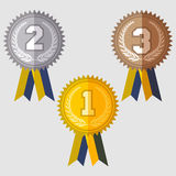 Set of signs medal. First second and third place, golden silver and bronze medals with laurels wreath and green ribbon, flat design medal icon Stock Image