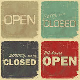Set of signs: open - closed - 24 hours. Retro style illustration Royalty Free Stock Photography
