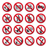 A set of signs prohibiting. Simple Prohibited Signs Set on white background Stock Images