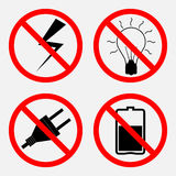 Set of signs prohibiting Electric operation, the battery is proh Stock Photos