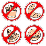 Set of signs prohibiting fast food Stock Photos