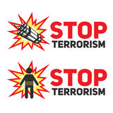 Set of signs Stop terrorism with the dynamite and a silhouette of a suicide blast. Stock Photos