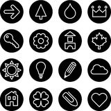 Set of signs or symbols. Illustrated set of different signs or symbols on black buttons, white background Stock Images