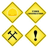 Set of signs under construction. Flat style for sites, design. royalty free illustration