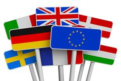 Set of signs with world flags Stock Photography