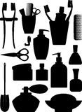 Set of silhouette of bathrom accessories. Set of silhouette of bathrom accessories Stock Photos