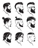 Set of silhouette bearded men faces hipsters style Royalty Free Stock Images