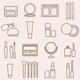 Set of silhouette beauty and cosmetics icons Royalty Free Stock Image