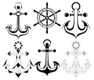 Silhouette anchors and ship whell Royalty Free Stock Images
