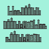 Set of Silhouette buildings,town and city with green background Royalty Free Stock Photography