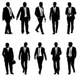 Set silhouette businessman man in suit with tie on a white background. Vector illustration Stock Photography