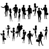 Set silhouette  businessmen and business women isolated. Big Set silhouette  businessmen and business women, isolated on white  background, cartoon stock vector Stock Photography
