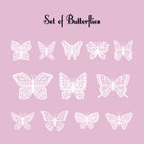 Set of  of silhouette of butterflies. Stock Image