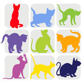 Set of silhouette cat Stock Photos