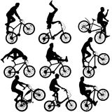 Set silhouette of a cyclist male and female. Royalty Free Stock Photography