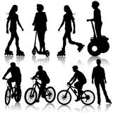 Set silhouette of a cyclist. vector illustration. Royalty Free Stock Photo