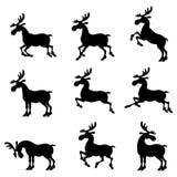 Set silhouette deer Royalty Free Stock Image
