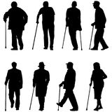 Set silhouette of disabled people on a white background Stock Images