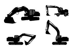 Set silhouette the excavate. Set silhouette of the excavate on a white background Royalty Free Stock Photo