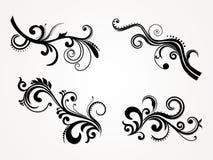 set silhouette för abstrakt blom- illustration Royaltyfria Foton