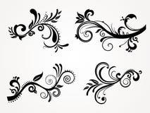 set silhouette för abstrakt blom- illustration Arkivfoton