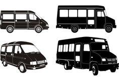set silhouette för bussstad Arkivfoton