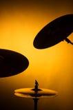 set silhouette för cymbal Arkivfoton