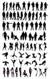 set silhouette för folk Royaltyfri Fotografi