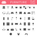 Set of Silhouette furniture outline icons. Trendy Royalty Free Stock Photos