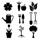 Set of silhouette garden and nature icon Royalty Free Stock Photos
