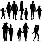 Set silhouette of happy family on a white background.  Royalty Free Stock Image