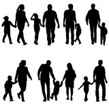 Set silhouette of happy family on a white background stock illustration