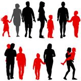 Set silhouette of happy family on a white background Royalty Free Stock Photo
