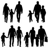 Set silhouette of happy family on a white background. Vector illustration. Royalty Free Stock Photos