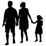 Set silhouette of happy family on a white background. Vector illustration. Stock Image