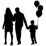 Set silhouette of happy family on a white background. Vector illustration. Stock Photography