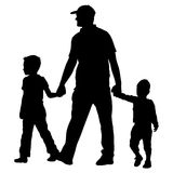 Set silhouette of happy family on a white background. Vector illustration. Royalty Free Stock Images