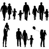 Set silhouette of happy family on a white background. Vector illustration. Royalty Free Stock Photography
