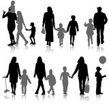 Set silhouette of happy family on a white background. Vector illustration. Stock Images