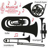 Set of silhouette icons. Musical brass wind instruments for orchestra. Vector illustration Royalty Free Stock Image