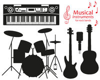 Set of silhouette icons. Musical instruments for rock bands. Stock Photography