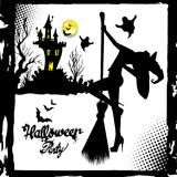 Set of silhouette image of Halloween witches. Witch, halloween, vector, cartoon, illustration Royalty Free Stock Photography