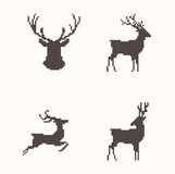 Set of silhouette images deer Stock Photos